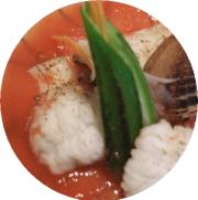 焼ハモ、トマトソース